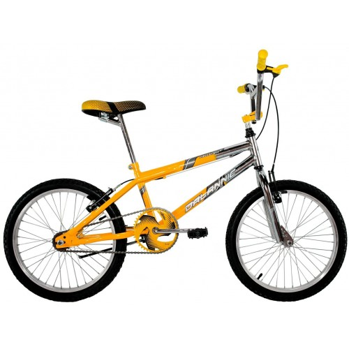 Bicicleta Aro 20 Dalannio Bike Freestyles Masculina Cromada Com Amarelo