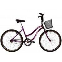 Bicicleta Aro 26 Dalannio Bike Beach Feminina Sem Marcha Roxa