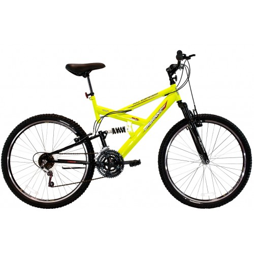 Bicicleta Aro 26 Dalannio Bike Max 260 Full Suspension 18 Marchas Amarela
