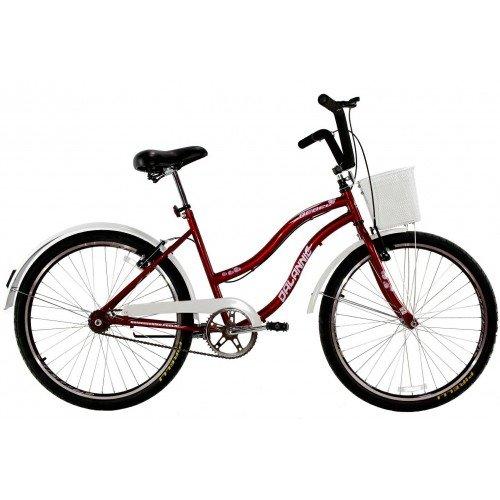 Bicicleta Aro 26 Dalannio Bike Beach Retrô Feminina Vermelha
