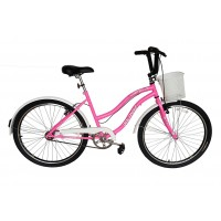 Bicicleta Aro 26 Dalannio Bike Beach Retrô Feminina Rosa Chiclete