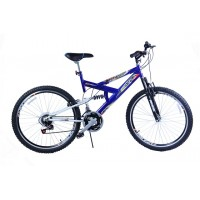 Bicicleta Aro 24 Dalannio Bike Max 240 Full Suspension 18 Marchas Azul