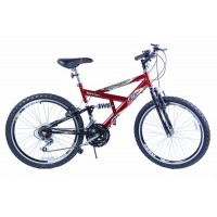 Bicicleta Aro 24 Dalannio Bike Max 240 Full Suspension 18 Marchas Vermelha