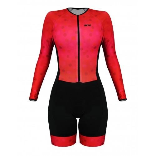 Macaquinho Ciclismo Feminino Manga Longa SportXtreme Comfort Scarlet